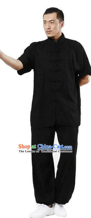 Traditional Chinese Kung Fu Costume Martial Arts Linen Black Suits Pulian Meditation Clothing, Tang Suit Plated Buttons Uniforms Tai Chi Clothing for Men