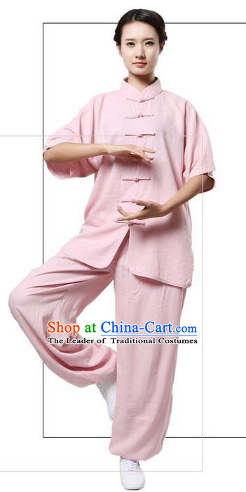 Traditional Chinese Kung Fu Costume Martial Arts Linen Pink Suits Pulian Meditation Clothing, Tang Suit Plated Buttons Uniforms Tai Chi Clothing for Women