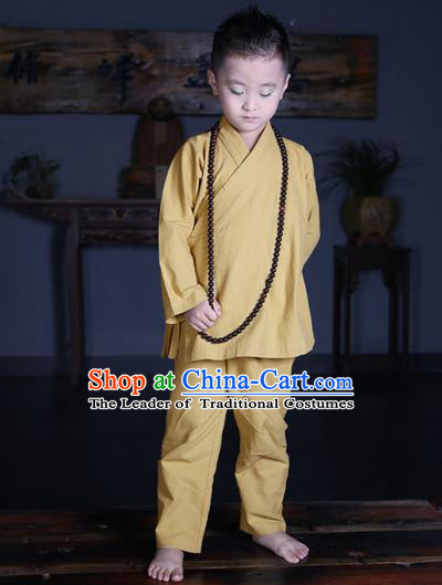 Traditional Chinese Kung Fu Costume Martial Arts Litter Monk Suits Pulian Meditation Clothing, Children Tang Suit Uniforms Tai Chi Khaki Clothing for Kids