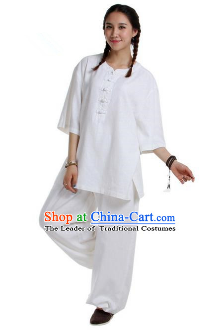 Traditional Chinese Kung Fu Costume Martial Arts Linen Suits Pulian Meditation Clothing, China Tang Suit Uniforms Tai Chi White Clothing for Women