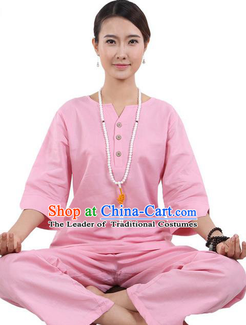 Traditional Chinese Kung Fu Costume Martial Arts Linen Pink Suits Pulian Meditation Clothing, China Tang Suit Yoga Uniforms Tai Chi Clothing for Women
