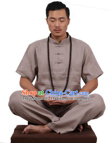 Traditional Chinese Kung Fu Costume Martial Arts Linen Plated Buttons Grey Suits Pulian Meditation Clothing, China Tang Suit Uniforms Tai Chi Clothing for Men
