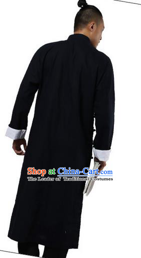 Traditional Chinese Kung Fu Costume Martial Arts Linen Plated Buttons Black Long Robe Pulian Clothing, China Tang Suit Long Flown Tai Chi Clothing for Men