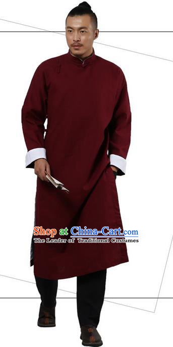 Traditional Chinese Kung Fu Costume Martial Arts Linen Plated Buttons Red Long Robe Pulian Clothing, China Tang Suit Long Flown Tai Chi Clothing for Men