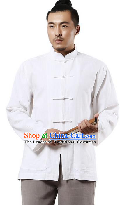 Traditional Chinese Kung Fu Costume Martial Arts Linen Plated Buttons White Overshirt Pulian Clothing, China Tang Suit Shirt Tai Chi Clothing for Men