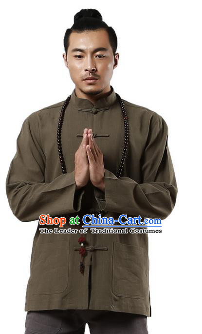 Traditional Chinese Kung Fu Costume Martial Arts Linen Plated Buttons Army Green Overshirt Pulian Clothing, China Tang Suit Shirt Tai Chi Clothing for Men