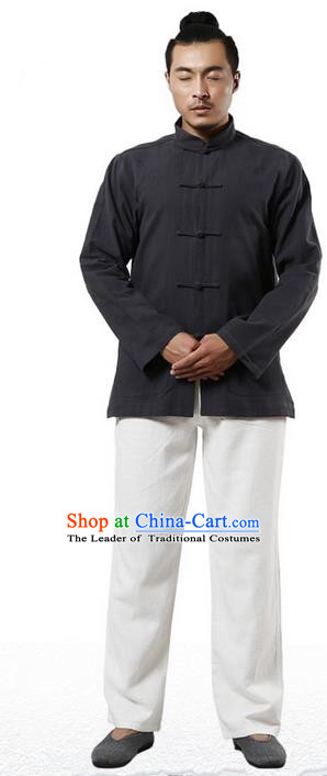 Traditional Chinese Kung Fu Costume Martial Arts Linen Plated Buttons Black Overshirt Pulian Clothing, China Tang Suit Shirt Tai Chi Clothing for Men