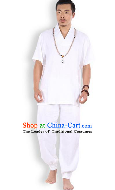 Traditional Chinese Kung Fu Costume Martial Arts Linen White Suits Pulian Clothing, China Tang Suit Uniforms Tai Chi Meditation Clothing for Men