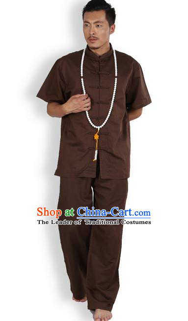 Traditional Chinese Kung Fu Costume Martial Arts Ice Silk Linen Short Sleeve Coffee Suits Pulian Clothing, China Tang Suit Uniforms Tai Chi Meditation Clothing for Men