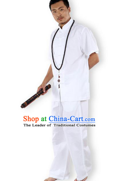 Traditional Chinese Kung Fu Costume Martial Arts Ice Silk Linen Short Sleeve White Suits Pulian Clothing, China Tang Suit Uniforms Tai Chi Meditation Clothing for Men