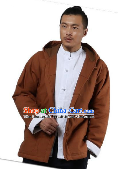 Traditional Chinese Kung Fu Costume Martial Arts Linen Hooded Coat Pulian Clothing, China Tang Suit Jackets Tai Chi Meditation Khaki Overcoat Clothing for Men