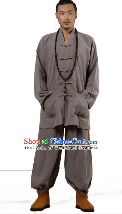 Traditional Chinese Kung Fu Costume Martial Arts Ramie Long Sleeve Grey Plated Buttons Uniforms Pulian Clothing, China Tang Suit Tai Chi Meditation Clothing for Men
