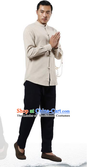 Traditional Chinese Kung Fu Costume Martial Arts Linen Plated Buttons Shirts Pulian Clothing, China Tang Suit Tai Chi Stand Collar Overshirt Beige Upper Outer Garment for Men