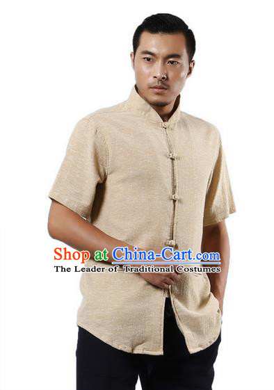 Traditional Chinese Kung Fu Costume Martial Arts Linen Short Sleeve Shirts Pulian Clothing, China Tang Suit Tai Chi Plated Buttons Overshirt Beige Upper Outer Garment for Men