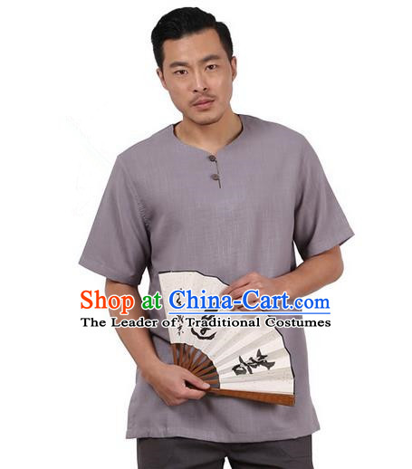 Traditional Chinese Kung Fu Costume Martial Arts Linen Short Sleeve T-Shirts Pulian Clothing, China Tang Suit Tai Chi Overshirt Grey Upper Outer Garment for Men