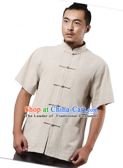 Traditional Chinese Kung Fu Costume Martial Arts Linen Short Sleeve Shirts Pulian Clothing, China Tang Suit Tai Chi Upper Outer Garment Beige Overshirt for Men