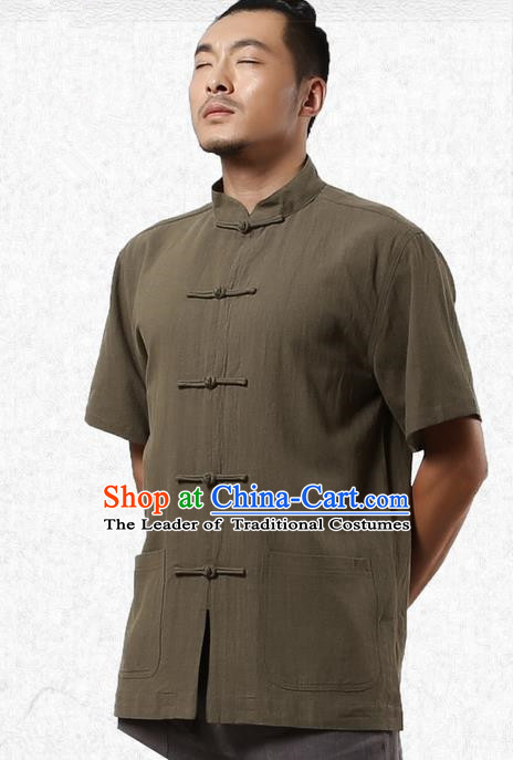 Traditional Chinese Kung Fu Costume Martial Arts Linen Short Sleeve Shirts Pulian Clothing, China Tang Suit Tai Chi Upper Outer Garment Army Green Overshirt for Men