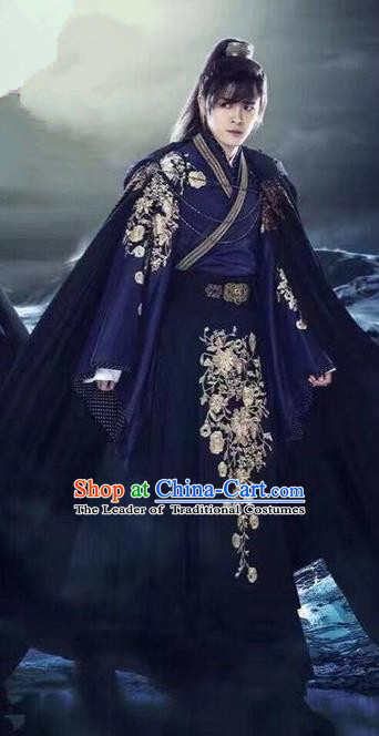 Traditional Chinese Ancient Imperial Prince Swordsman Costume and Headpiece Complete Set, China Ming Dynasty Secret Service Suit Imperial Bodyguard Clothing for Men