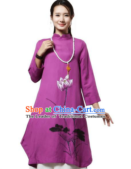 Top Chinese Traditional Costume Tang Suit Purple Painting Lotus Qipao Dress, Pulian Clothing China Cheongsam Upper Outer Garment Stand Collar Dress for Women