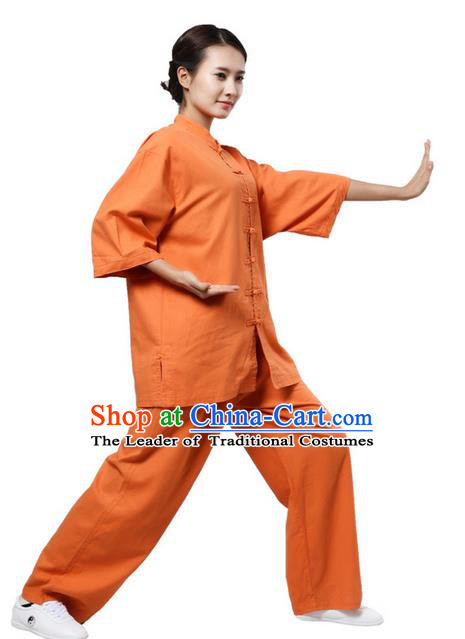 Top Grade Kung Fu Costume Martial Arts Orange Suits Pulian Zen Clothing, Training Costume Tai Ji Uniforms Gongfu Shaolin Wushu Tai Chi Plated Buttons Clothing for Women