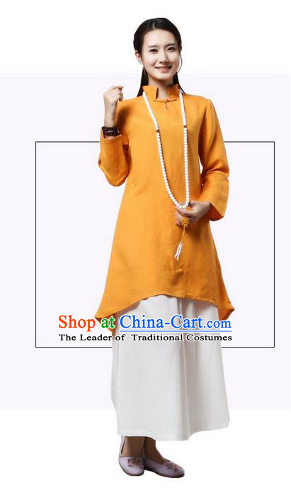 Top Chinese Traditional Costume Tang Suit Linen Qipao Dress, Pulian Clothing China Republic of China Cheongsam Upper Outer Garment Yellow Dress for Women