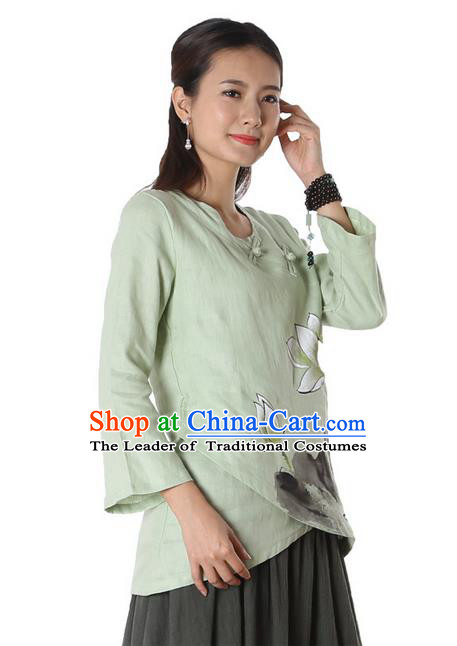 Top Chinese Traditional Costume Tang Suit Green Painting Lotus Blouse, Pulian Zen Clothing China Cheongsam Upper Outer Garment Plated Buttons Shirts for Women