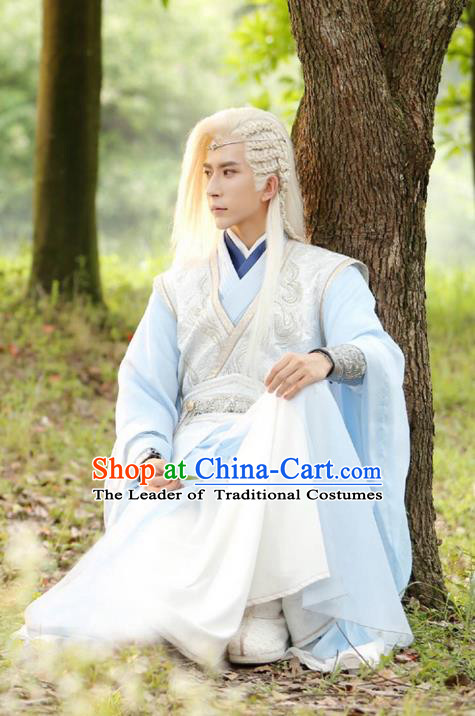 Traditional Chinese Ancient Swordsman Costume, Xuan-Yuan Sword Legend: The Clouds of Han the Three Kingdoms Prince Hanfu Clothing and Headpiece Complete Set for Men