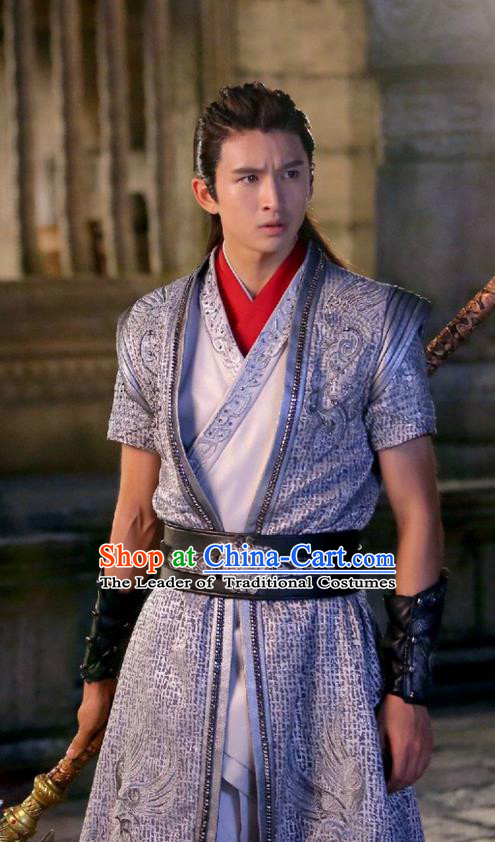 Traditional Chinese Ancient Chivalrous Expert Costume, Xuan-Yuan Sword Legend: The Clouds of Han the Three Kingdoms Swordsman Hanfu Clothing for Men