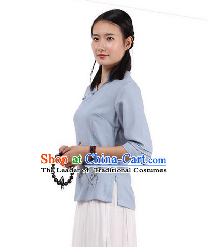 Top Chinese Traditional Costume Tang Suit Blue Painting Lotus Blouse, Pulian Zen Clothing China Cheongsam Upper Outer Garment Slant Opening Shirts for Women