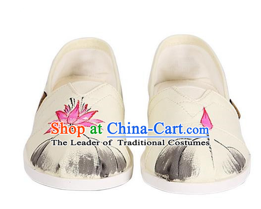 Top Chinese Traditional Linen Shoes, Pulian Shoes China Ink Painting Lotus Cloth Shoe for Women