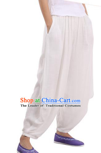 Top Chinese Traditional Linen Kong Fu Loose Pants, Pulian Zen Clothing China Martial Art Plus Fours Bloomers White Trousers for Men