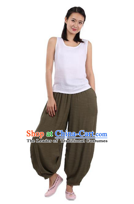 Top Chinese Traditional Linen Kong Fu Loose Pants, Pulian Zen Clothing China Martial Art Plus Fours Bloomers Army Green Trousers for Women