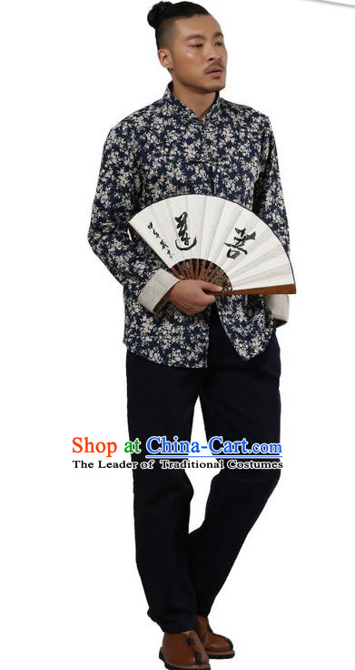 Traditional Chinese Kung Fu Costume Martial Arts Linen Plated Buttons Shirts Pulian Meditation Clothing, China Tang Suit Upper Outer Garment Navy Overshirt for Men