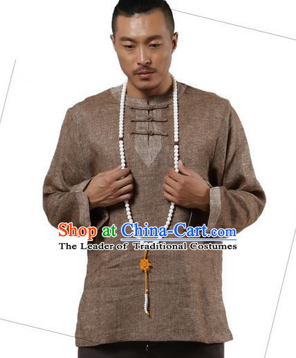 Traditional Chinese Kung Fu Costume Pulian Meditation Clothing Martial Arts Linen Plated Buttons Shirts, China Tang Suit Upper Outer Garment Brown Overshirt for Men