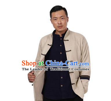 Traditional Chinese Kung Fu Costume Pulian Meditation Clothing Martial Arts Linen Plated Buttons Coats, China Tang Suit Upper Outer Garment Jacket Beige Overcoat for Men
