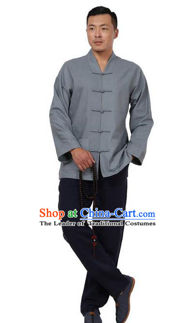 Traditional Chinese Kung Fu Costume Pulian Meditation Clothing Martial Arts Linen Plated Buttons Shirts, China Tang Suit Upper Outer Garment Grey Overcoat for Men