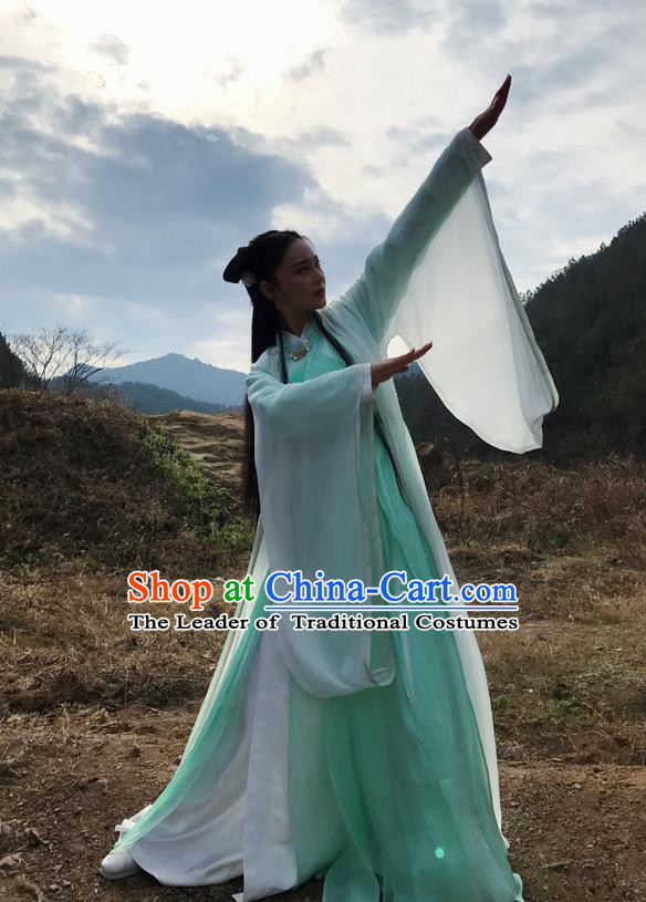 Traditional Chinese Ancient Swordsman Costume, Chinese Teleplay Flower Shabana Flyings Sky Song Dynasty Palace Lady Princess Clothing and Headpiece Complete Set for Women