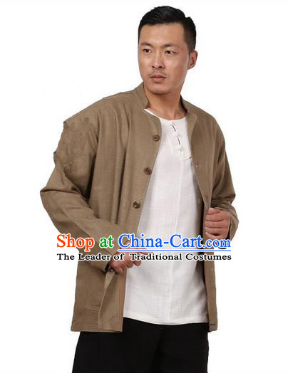 Traditional Chinese Kung Fu Costume Martial Arts Linen Khaki Coats Pulian Meditation Clothing, China Tang Suit Upper Outer Garment for Men