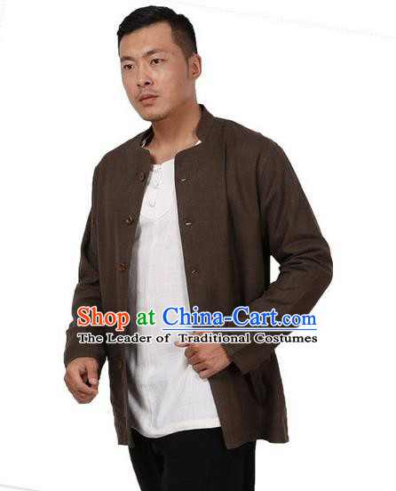 Traditional Chinese Kung Fu Costume Martial Arts Linen Deep Grey Coats Pulian Meditation Clothing, China Tang Suit Upper Outer Garment for Men