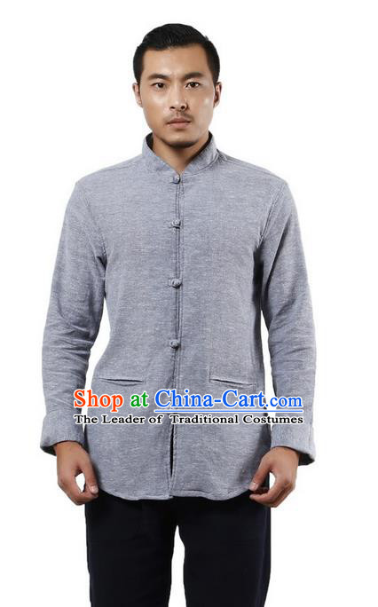 Traditional Chinese Kung Fu Costume Martial Arts Linen Shirts Pulian Meditation Clothing, China Tang Suit Upper Outer Garment Blue Overshirt for Men