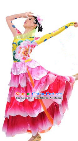 Chinese Classic Stage Performance Chorus Singing Group Dance Costumes, Opening Dance Big Swing Peony Flowers Dress for Women