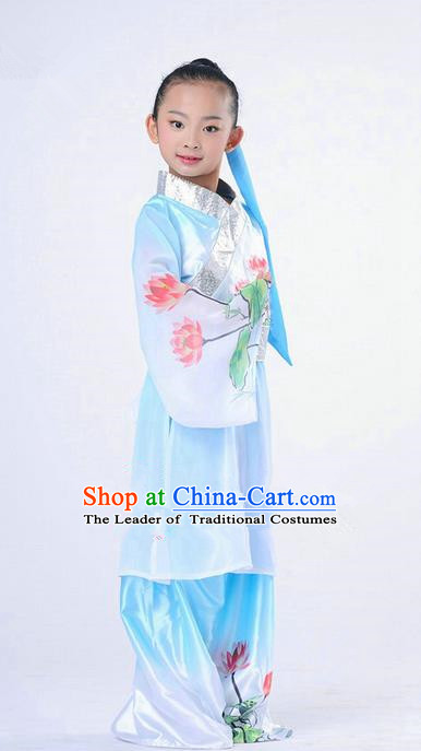 Traditional Chinese Classical Dance Peking Opera Performance Costume, Children Folk Dance Uniform Lotus Dance Blue Clothing for Kids
