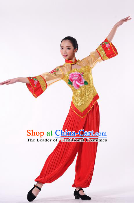 Traditional Chinese Yangge Fan Dancing Costume, Folk Dance Yangko Clothing for Women