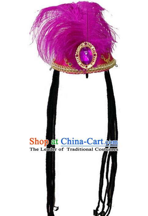 Traditional Chinese Uyghur Nationality Dance Headwear, Chinese Uigurian Minority Nationality Folk Dancing Hat for Women