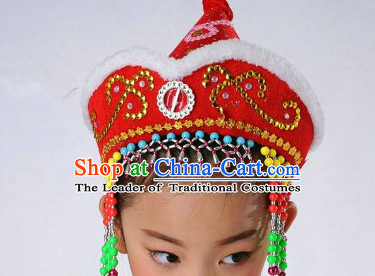 Traditional Chinese Mongol Nationality Dance Headwear, Chinese Mongolian Minority Nationality Folk Dancing Red Hat for Kids