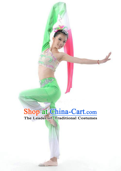 Traditional Chinese Classical Dance Water-sleeve Costume, Folk Dance Drum Dance Uniform Yangko Green Dress for Women