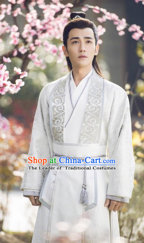 Traditional Chinese Ancient Prince Costume and Handmade Headpiece Complete Set, China Song Dynasty Scholar Nobility Childe Clothing for Men