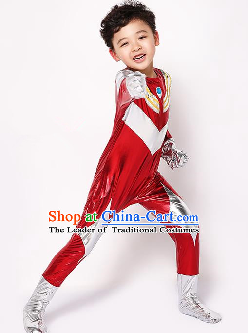 Chinese Modern Dance Costume, Children Cosplay Ultraman Uniforms, Halloween Party Red Suit for Boys Kids
