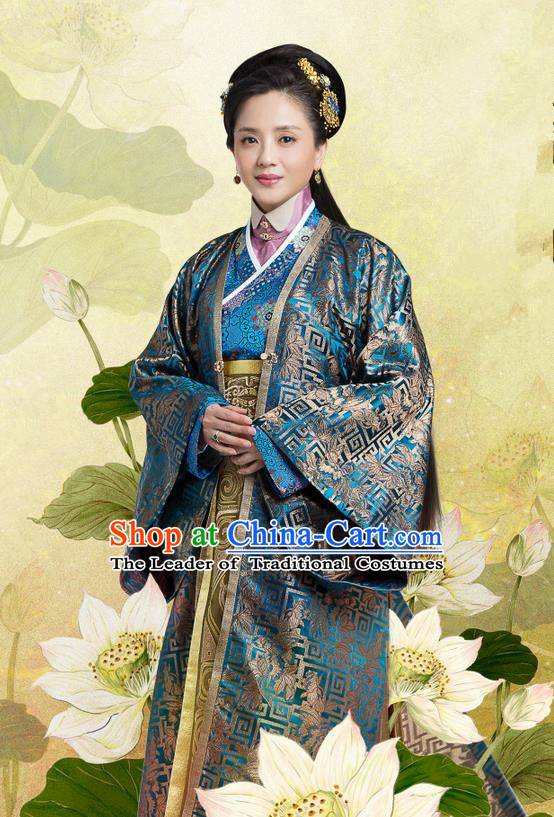 Traditional Chinese Ancient Song Dynasty Imperial Consort Costume and Headpiece Complete Set, Chinese Teleplay Flower Shabana Flyings Sky Senior Concubine Embroidered Dress for Women