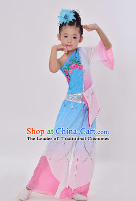 Traditional Chinese Classical Dance Children Yangge Fan Dance Costume, Folk Dance Drum Dance Uniform Yangko Clothing for Kids